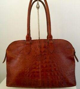 9d7fab1ab0 Image is loading Vintage-Mulberry-Rich-Rust-Brown-Croc-Print-Leather-