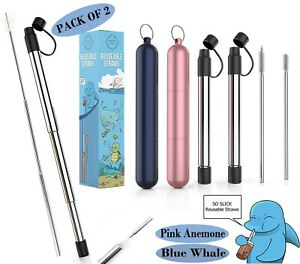 Reusable-Stainless-Steel-Straw-with-Key-Chain-Case-amp-Brush-2-PACK-Pink-amp-Blue