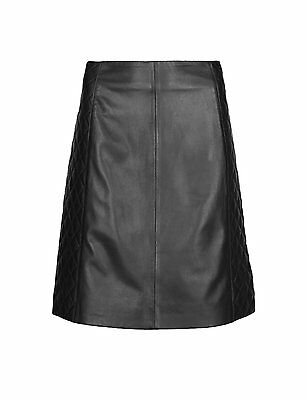 M & S COLLECTION LEATHER QUILTED A-LINE BLACK MINI SKIRT
