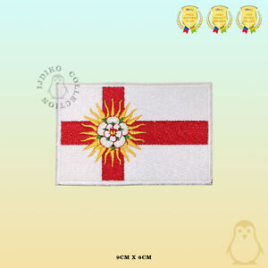 WEST-RIDING-County-Flag-Embroidered-Iron-On-Sew-On-Patch-Badge-For-Clothes-Etc