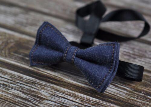 Boy Kids Teenage Navy Blue Denim Jeans Bow Tie Bowtie Wedding 7-14 Years Old