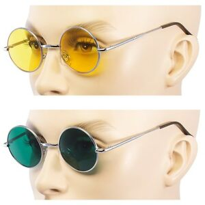 b09ea79679 Details about 2 PAIR John Lennon Style Vintage Circle Round Sunglasses Men  Women GREEN YELLOW