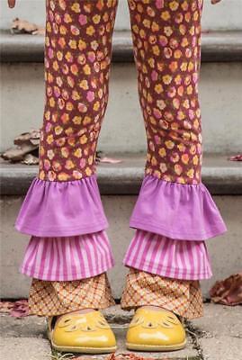 Nwt Matilda Jane Girls Size 4 Blue Dot Check Strike A Pose Ruffle Leggings