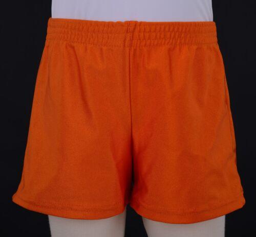 Boys Shiny Orange Nylon Lycra Square Cut Gymnastics Shorts Football Gym Sports
