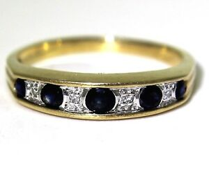 Lovely-Sapphire-amp-Diamond-9ct-Yellow-Gold-Half-Eternity-ring-O-7-1-4