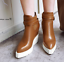 thumbnail 13 - Women Pointed Toe Wedge Heels Ankle Boots Punk Leather Vintage Party Chic Shoes