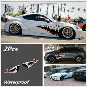Details About Pair 59 Shark Mouth Tooth Teeth Sticker Vinyl Exterior Decal For Car Side Door