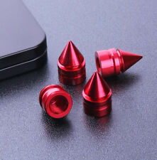 4x Red Spike Cone Tire Rim Valve Wheel Air Port Dust Cover Stems Cap New Style