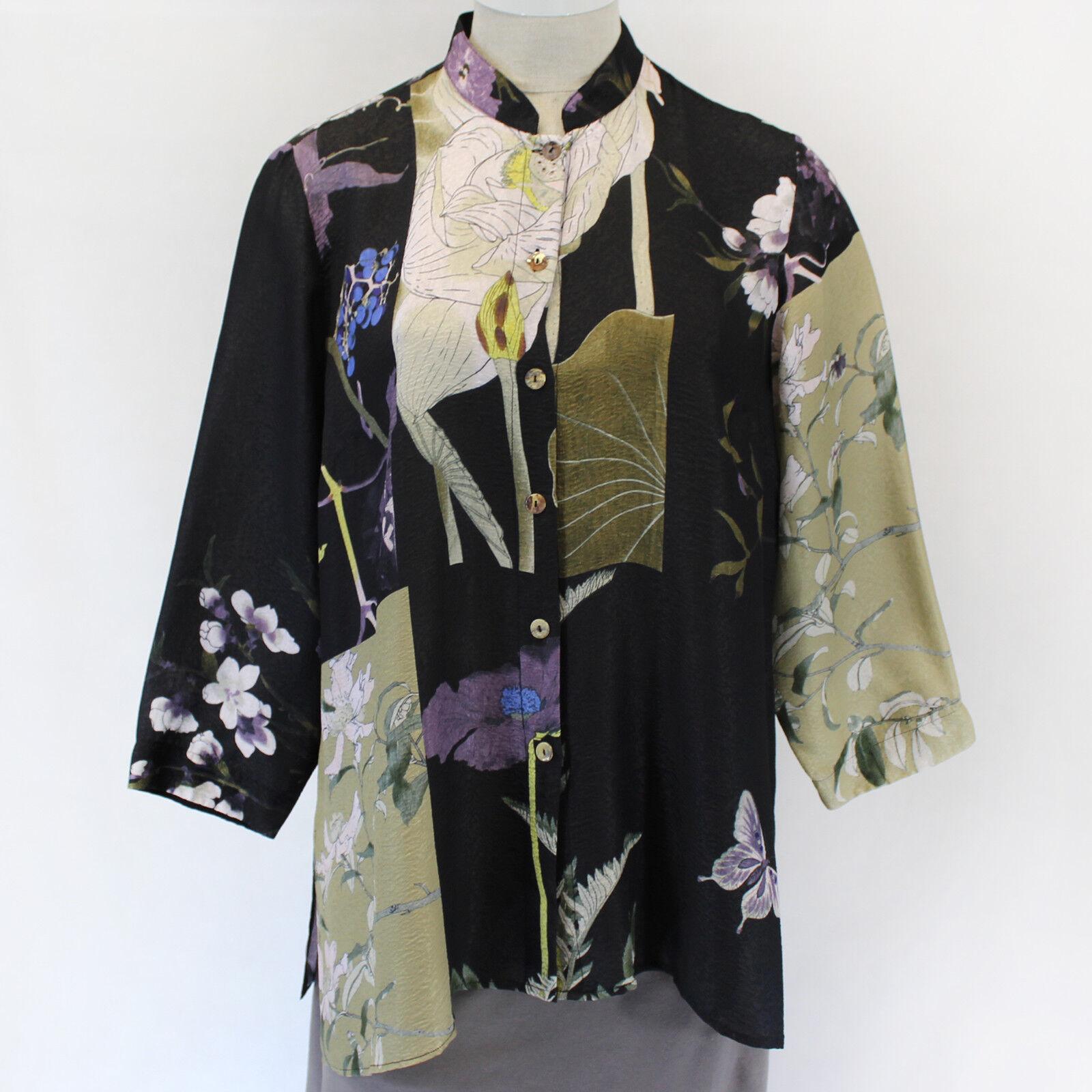 Citron Clothing Japanese Art Flowers Butterflies Silk Blend Blouse Plus 1X