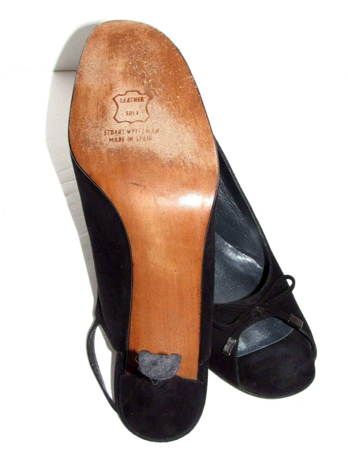 STUART STUART STUART WEITZMAN Black Suede Peep Toe Slingback Heels shoes SZ 9.5 M 5ac271