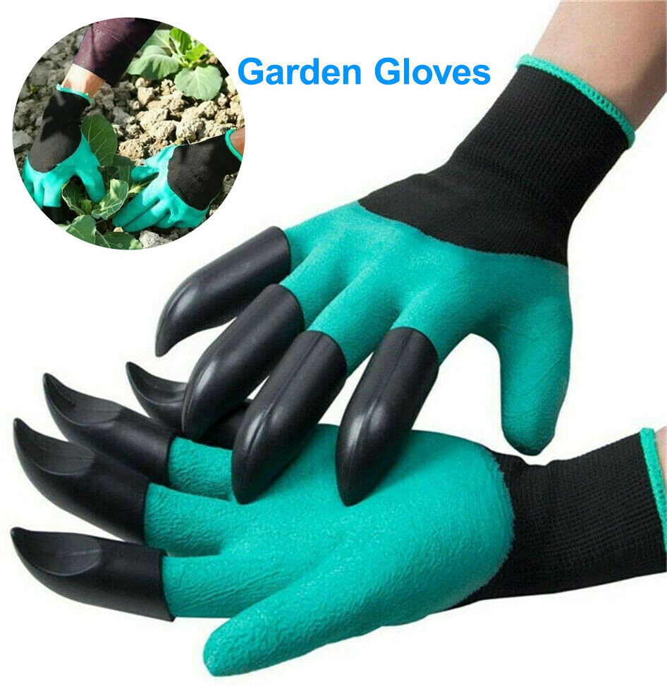 Gardening Digging Planting Pruning Tools Lawn Care 8 Claws Garden Genie Gloves 12