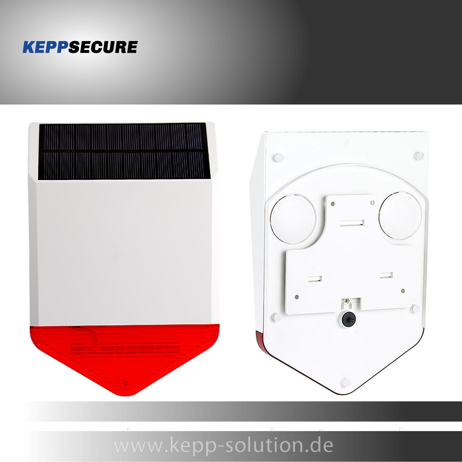Funk Solar Aussensirene, passend zu unseren Alarmanlagen Modell W2 & W20 & 4G
