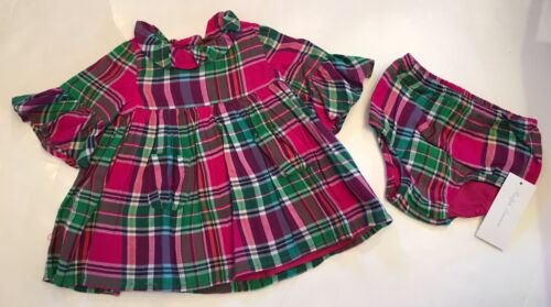 NWT Ralph Lauren POLO Baby Girl Pink Green Plaid Dress Panty 3 6 9 12 18 24 Mos