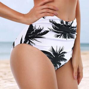 Plus-Size-Women-Summer-Swimwear-High-Waist-Ruched-Printed-Bikini-Bottoms-Panties