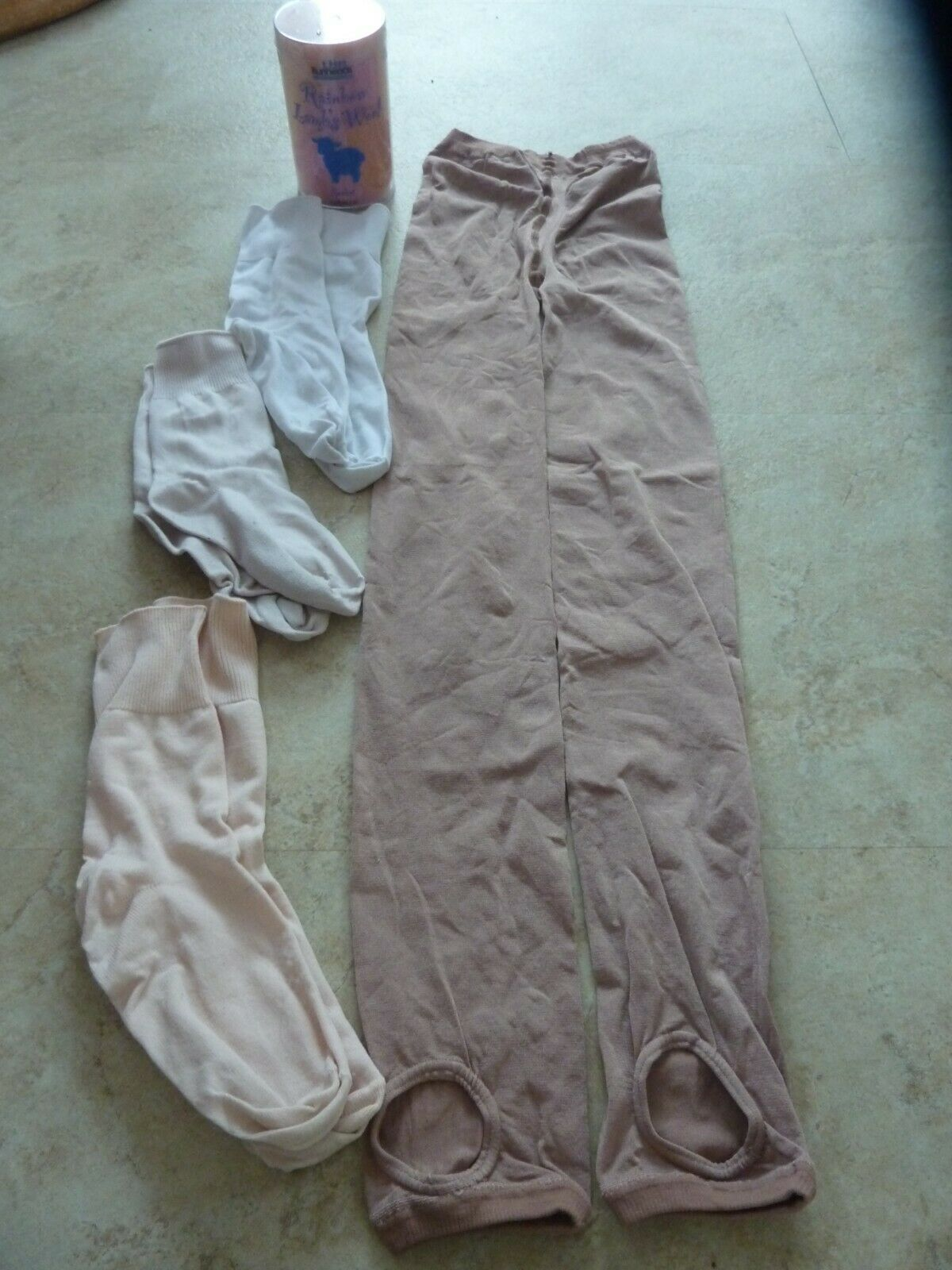 Kid ballet socks, stirrup shimmer tan tights and rainbow lamb wool