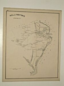 ROLLINSFORD VINTAGE ANTIQUE 1892 MAP. NOT A REPRINT. NH.