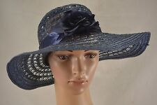 VINTAGE C&A blue mesh wide brimmed floppy sun hat summer 1970s