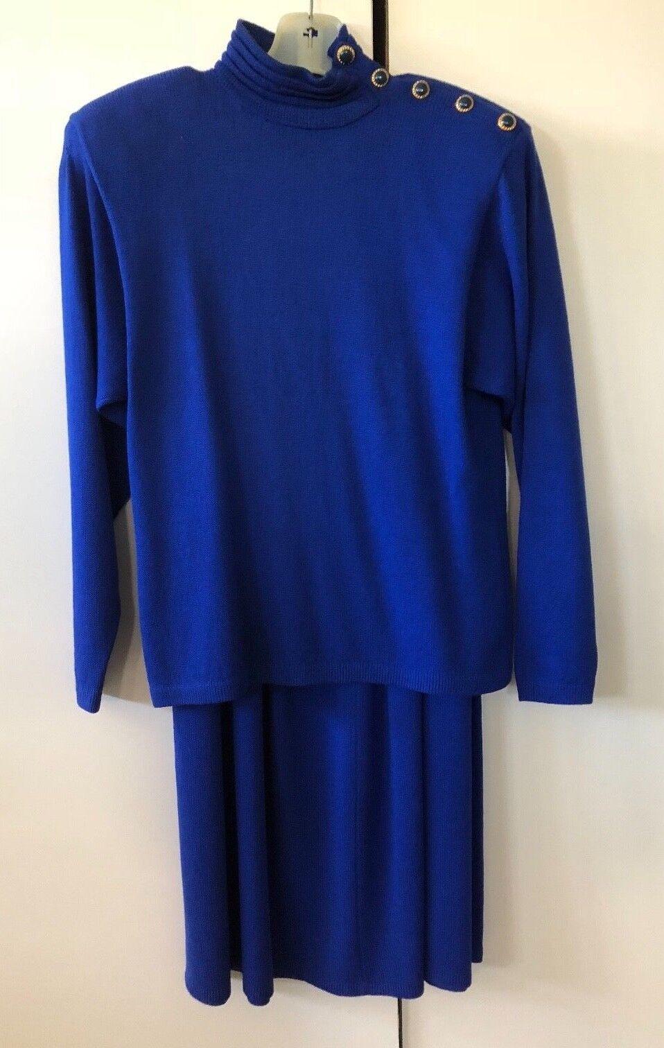 ST. JOHN NEIMAN MARCUS Women's bluee Knit Top and Skirt - Size 8  (5086)