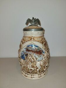 """Anheuser Busch """"World Famous Clydesdale Hitch"""" Lidded Beer Stein by Avon 2002"""