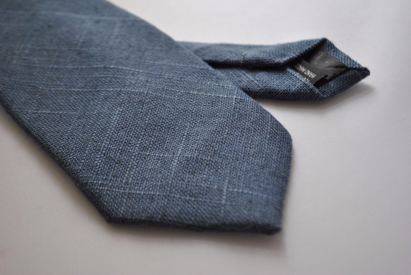 Frederick Thomas mens tie in plain navy blue linen FT2040