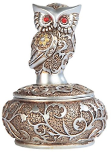 George S. Chen Imports SS-G-54365, 4 Inch Silver and Bronze Owl with Red Gems