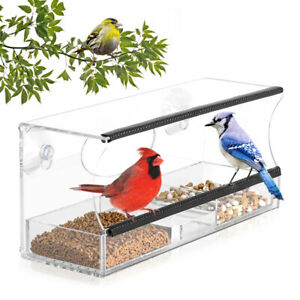 Window Bird Feeder With Strong Suction Cups And Seed Tray Outdoor Birdfeeders Ebay
