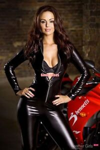 Sexy-Metallic-Black-Long-Sleeve-Zip-Up-Spandex-Catsuit-Size-12
