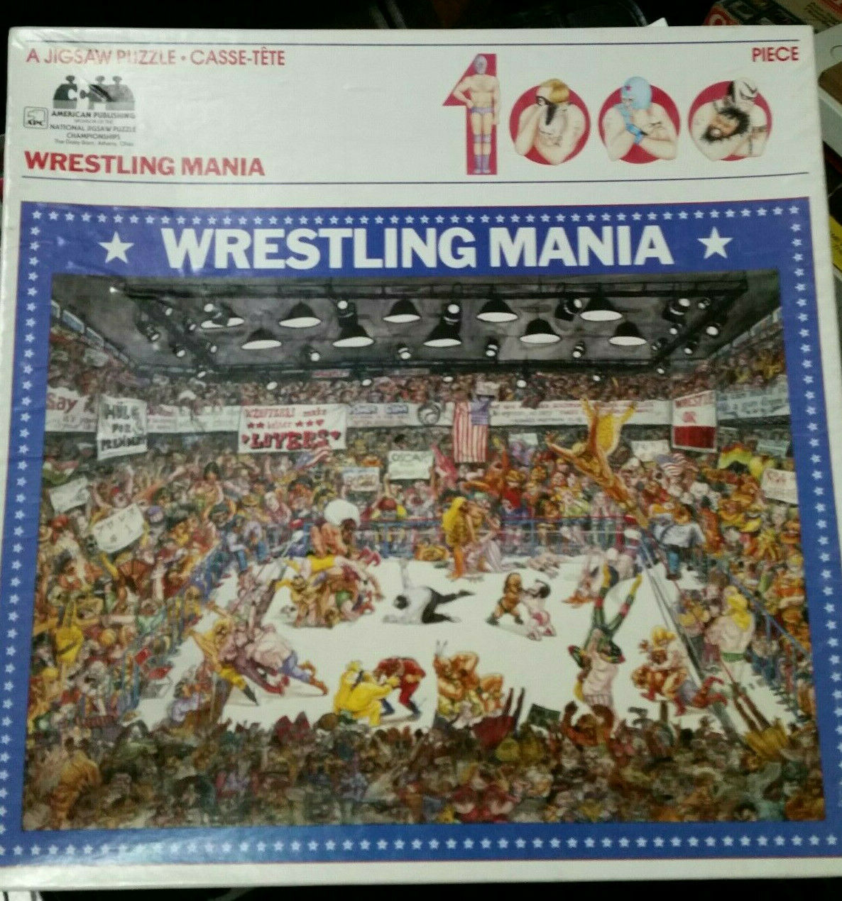 1984  American Publishing 1000pc Puzzle-WRESTLING uomoIA-23x29-Great Illustrations  Felice shopping