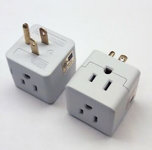 2-PACK-TRIPLE-OUTLET-GROUNDED-ELECTRIC-WALL-3-WAY-TAP-POWER-ADAPTER