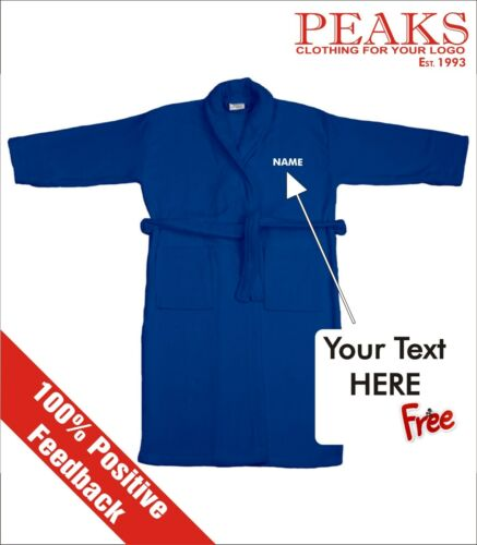 A GREAT GIFT !! PERSONALISED Velour Collar Mens//Ladies Bath Robe Dressing Gown
