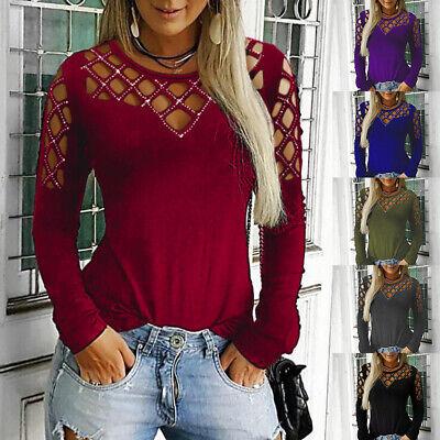 Damen Strass Hohl Langarmshirt Freizeit T Shirt Tops Oberteile Sweatshirt Bluse