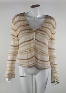 9a9c866a590685 Details about J Jill Womens Petite Medium White Cream Tan Button Down Open  Knit Sweater EUC