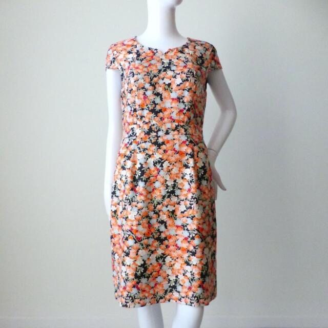 JIGSAW - NEW - Cotton and Silk Cap Sleeve Sheath Dress Size 12 US 8