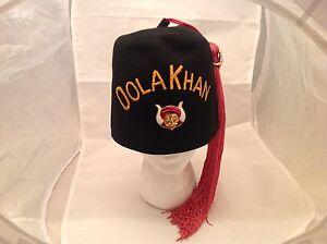 9e04eb4338b Vintage Masonic Shriner s Fez Hat Masonary OOLA KHAN Size 7 1 8 W ...