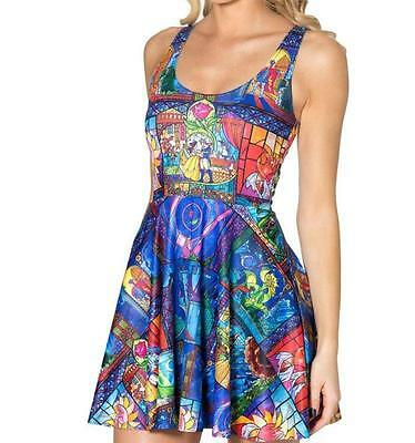Belle Beauty and the Beast Fairytale Rose Stained Glass Women Skater Dress NEW