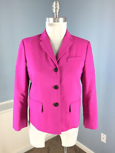 Ann-Taylor-10-P-Fuchsia-Hot-Pink-Cropped-Swing-Blazer-jacket-Career-Cocktail-Wow