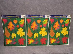 3 Classic Clings Reusable Window Decorations Autumn Fall Leaves