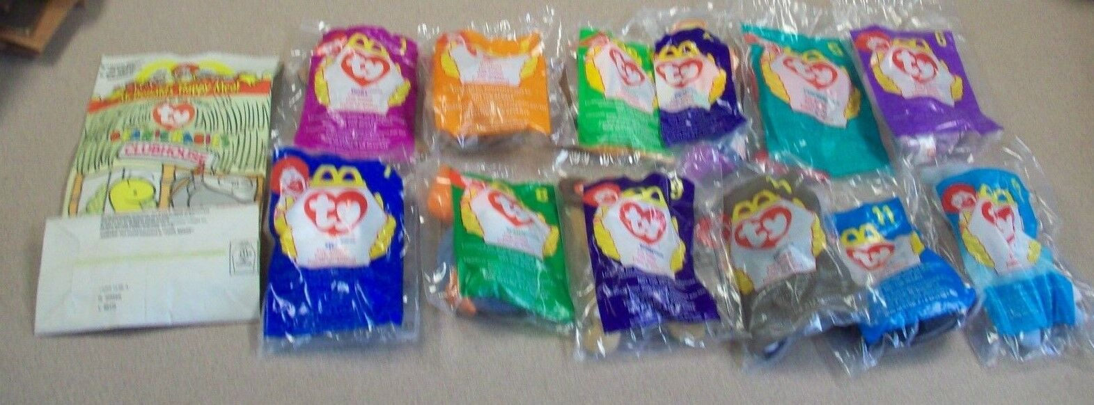 199 McDonald TY Beanie Babies Complete Set 1-12 with Unused Happy Meal Bag