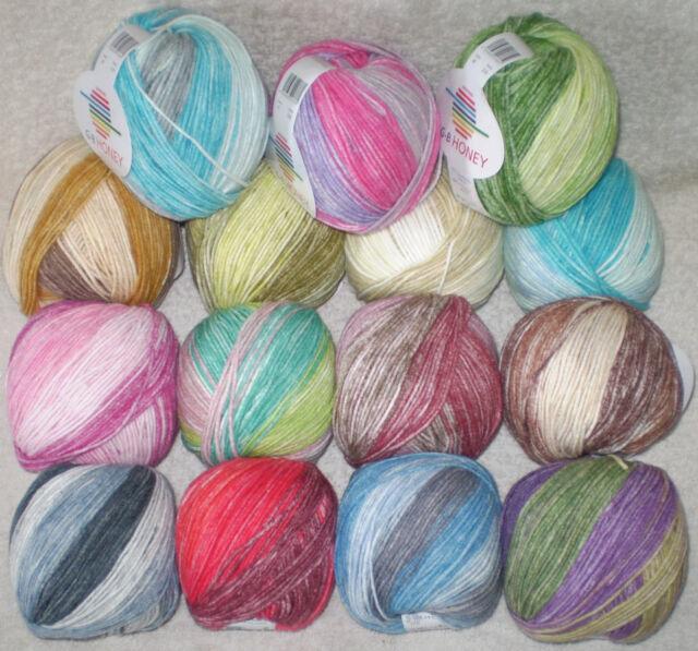 50 gr HONEY von G-B weiches Baumwollgarn mit schönem Farbverlauf / Musterbildend