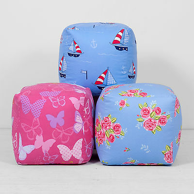 Cotton Print Fabric Footstool Pouffe Cube Bean Bag Beanbag With Beans EXCLUSIVE