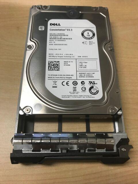 """DELL FNW88 1TB 7.2K ST1000NM0023 6GB/S 3.5"""" LFF SAS HOT-PLUG HARD DRIVE W/ TRAY"""