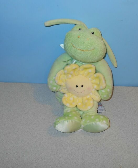 "12"" Gund Dottie Dots Frog Musical Baby Crib Pull Toy Brahms Lullaby #58246"