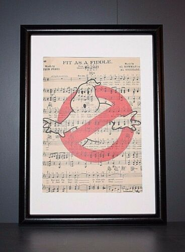 VINTAGE ANTIQUE MUSIC BOOK PAGE WALL POP ART PRINT PICTURE GHOSTBUSTERS LOGO