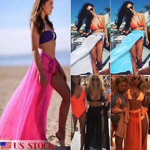 2ae72c66aab20 Womens Bikini Cover Up Swimwear Sheer Mesh Beach Wrap Skirt Sarong ...