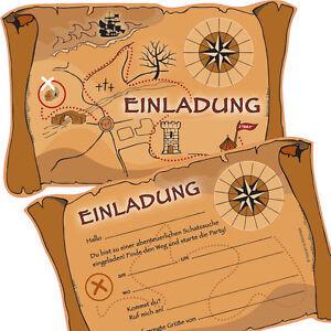 Das Bild Wird Geladen 6 Einladungskarten SCHATZSUCHE Fuer Kindergeburtstag  Geocaching Geburtstag Pirat