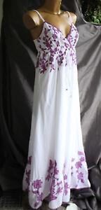 ddb44f1a40c70 Esprit Collection Maxi-kleid lila weiß 36 NEU stickerei hippie ethno ...