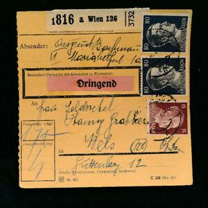 Paket-Karte mit Aufkleber dringend 1944 aus Wien 126 (H48)