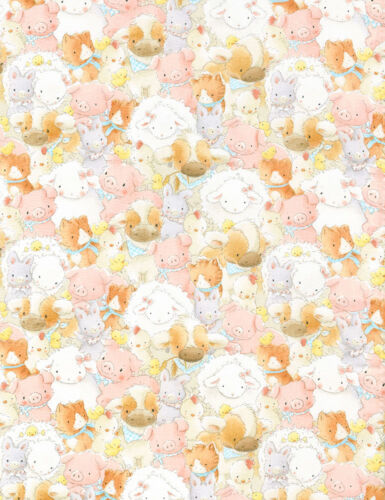 100/% cotton C5831 Bunny Pig Sheep Fabric  Bunnies by the Bay  fat 1//4s
