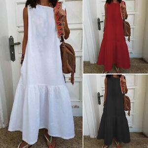 ZANZEA-Women-Summer-Long-Maxi-Dress-Sleeveless-Shirt-Dress-Pleated-Tank-Dress