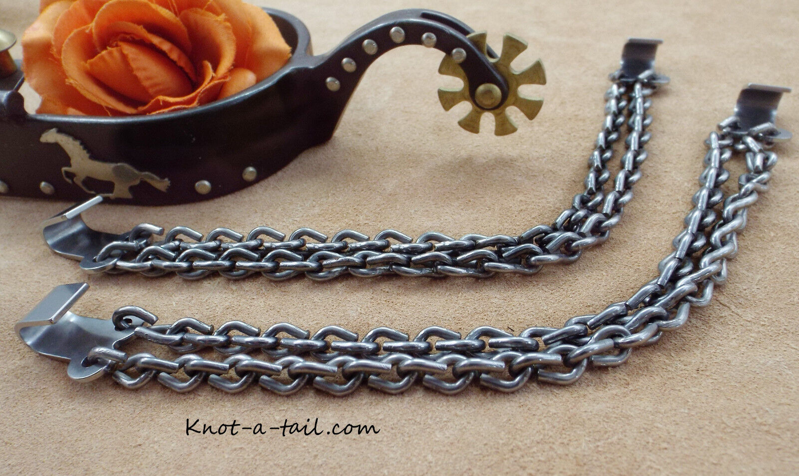 Spur heel chains, Hold-tight, steel, Cowboy boot heel chains, Tie-down chains